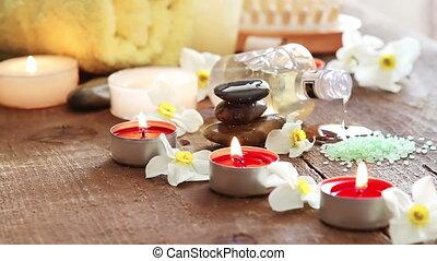 spa, stilleven, van, massage olie