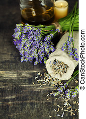 spa - Fresh and dried lavender flowers, essential oil, soap...
