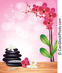 Spa stones and flowers on orchid background