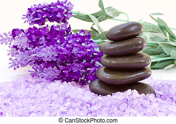 Spa stones and flowers