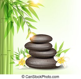 Spa stones and green bamboo
