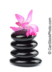 spa stones and pink flower isolated