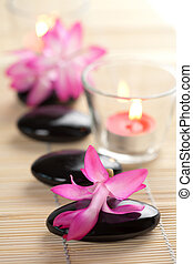 spa stones and pink flowers over bamboo mat