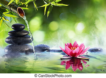 Spa Stones And Waterlily With Fountain In Zen Garden - Asian Culture