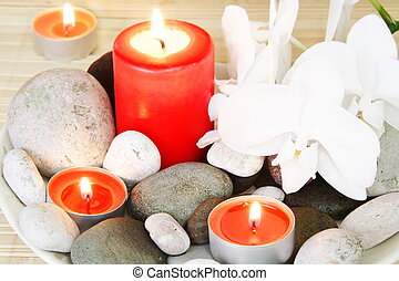 Spa Stones, Candles and Orchids
