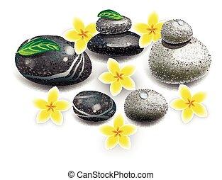 Spa. Decorative stones lifovani. Spa treatments. Flowers with stones.
