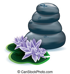 Spa stones and lotus flowers, eps10 vector illustration