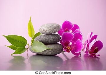 Spa stones. - Spa stones pink orchid and pink background.