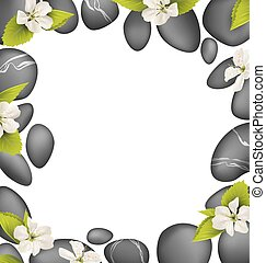 Spa stones with cherry white flowers like frame isolated on white