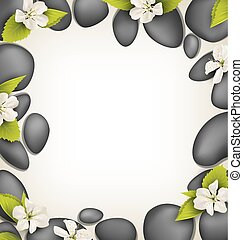 Spa stones with cherry white flowers like frame on beige