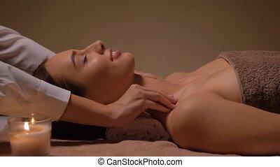 spa, tête, avoir, figure, masage, femme
