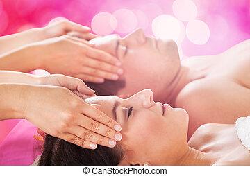 spa, tête, réception, couple, masage