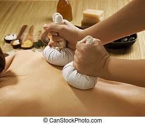 spa, tailandês, massagem