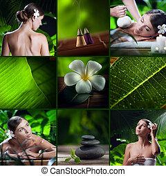 spa, tema, colagem, composto, de, diferente, imagens