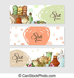 Spa template in sketch style. Hand drawn elements for your design. Vector illustration