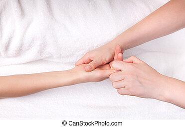 spa, terapeuta, dedo, massagem
