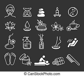 spa, terapia, cosméticos, massagem, ícones