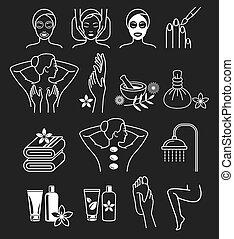 spa, terapia, cosméticos, massagem