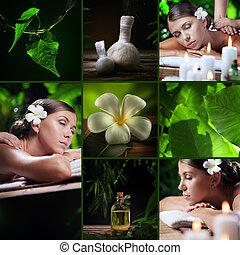 spa, thème, collage, composé, de, différent, images