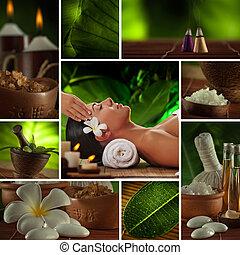 spa, thème, photo, collage, composé, o