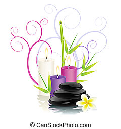 Spa theme - Spa stones, bamboo, frangipani flower and...