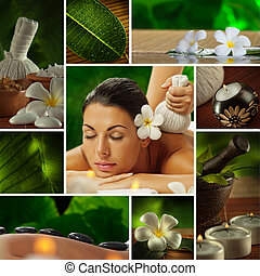 Spa theme  photo collage composed o