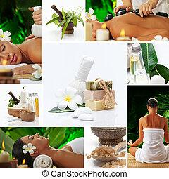 Spa theme photo collage composed o
