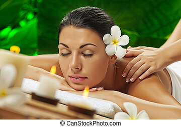 spa theme - portrait of young beautiful woman in spa...
