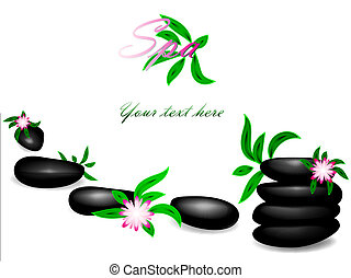 spa - Spa theme with zen stones, flowers and copyspace