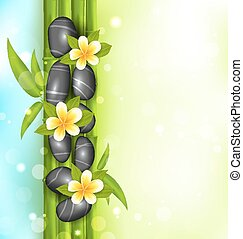 Spa therapy background with bamboo, stones and frangipani flowers (plumeria)