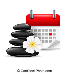 Spa time icon: black stones with flower and calendar with...