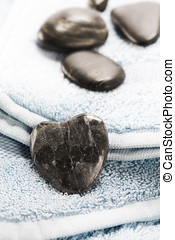 Spa towel with stones