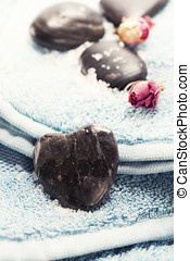 Spa towel with stones - Valentine concept