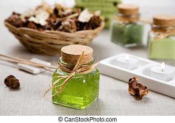 Spa treatment - Aromatherapy products and candles on table