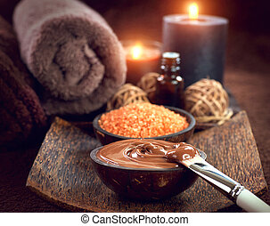 Spa treatment. Chocolate mask, bath salt, brown sugar scrub for skin