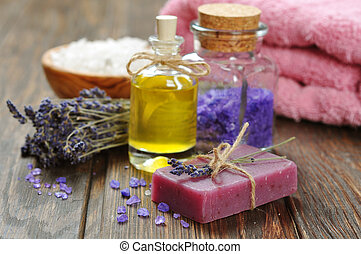 Spa treatment - Herbal soap with oil, sea salt and lavander ...