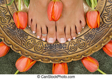 Spa Treatment - Spa treatment with beautiful elegant tulips