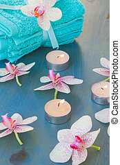 spa treatment with  burning  candles