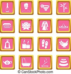 Spa treatments icons pink