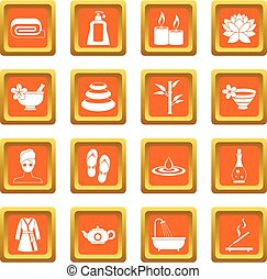 Spa treatments icons set orange