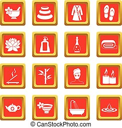 Spa treatments icons set red
