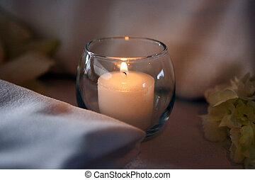 spa tritment candle, elegant decoration, burning flame