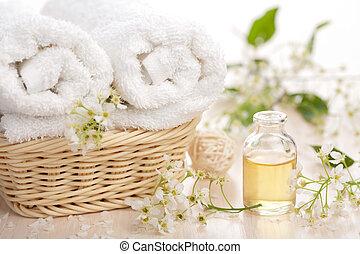 spa, und, aromatherapy, satz