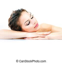 spa., vacker, ung kvinna, med, frisk, hälsosam, skinn
