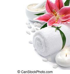 spa, vatting, lelie, bloem