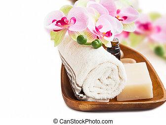 spa, vatting, met, orchidee, bloem, zeep, en, essentie, fles
