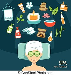 spa, vecteur, conception, plat