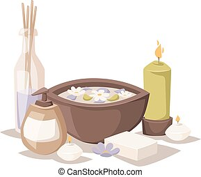spa, vecteur, icons., arôme