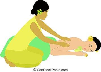 spa, vecteur, illustration., masage