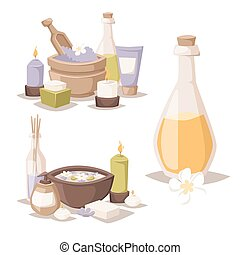 Spa vector icons treatment beauty procedures wellness...